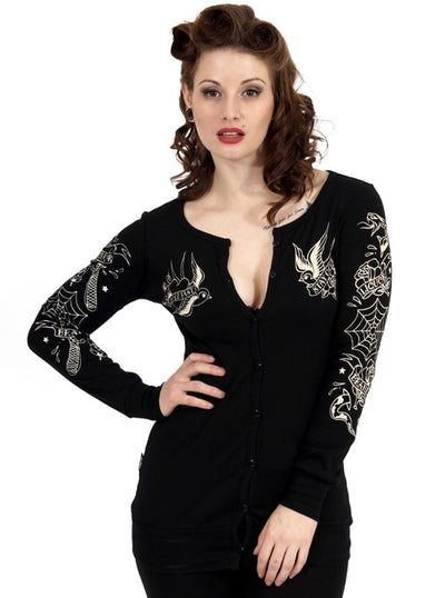 "Women's ""Snake Razor"" Cardigan by Liquorbrand (Black)"
