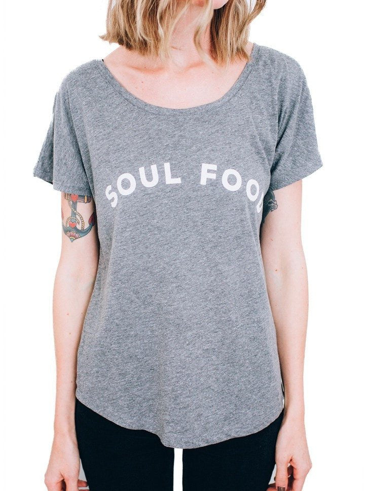 "Women's ""Soul Food"" Dolman Tee by Pyknic (Heather Grey) - www.inkedshop.com"
