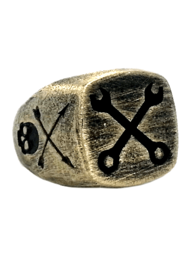 """Spanner Skull"" Ring by Lor G Jewellery (Bronze) - www.inkedshop.com"