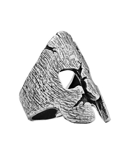 """Battle Scared"" Spartan Helmet Ring by Silver Phantom Jewelry"