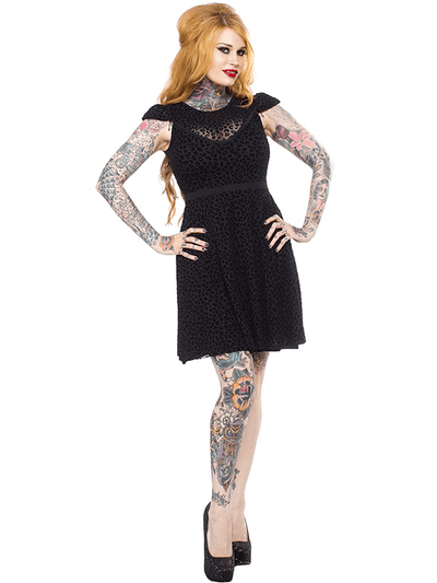 "Women's ""Leopard Lyla"" Dress by Sourpuss (Black) - www.inkedshop.com"