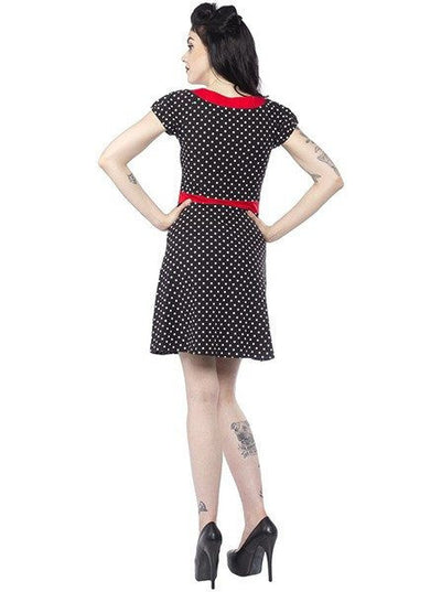Women's Polka Dot Beki Dress by Sourpuss (Black) - www.inkedshop.com