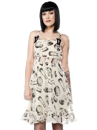"Women's ""Doll Parts"" Dress by Sourpuss (Beige) - www.inkedshop.com"