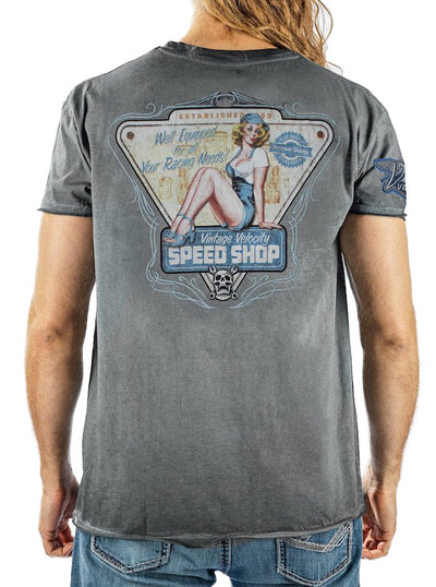 Men's Speed Shop Pin Up Tee by Lethal Threat (Grey)