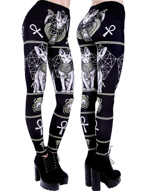 "Women's ""Sphynx"" Leggings by Restyle (Black)"