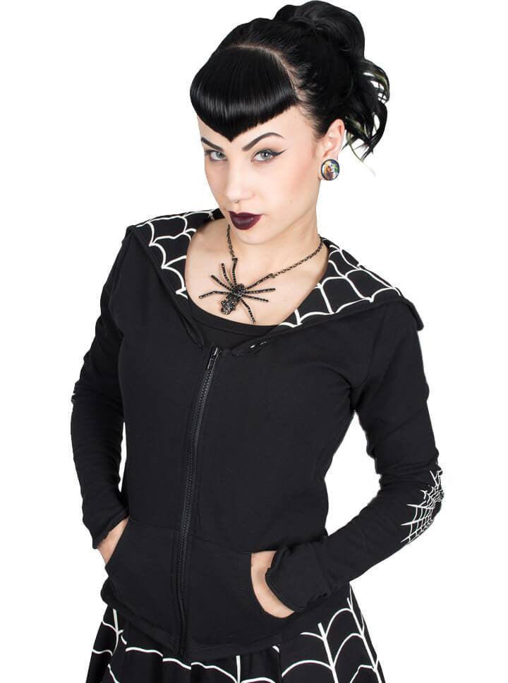"Women's ""Spiderweb"" Flap Jacket by Kreepsville 666 (Black) - www.inkedshop.com"