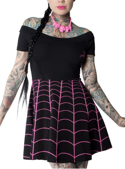Women's Spiderweb Off Shoulder Skater Dress by Kreepsville 666