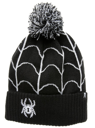 """Spider & Web"" Knit Hat by Sourpuss (Black/White)"