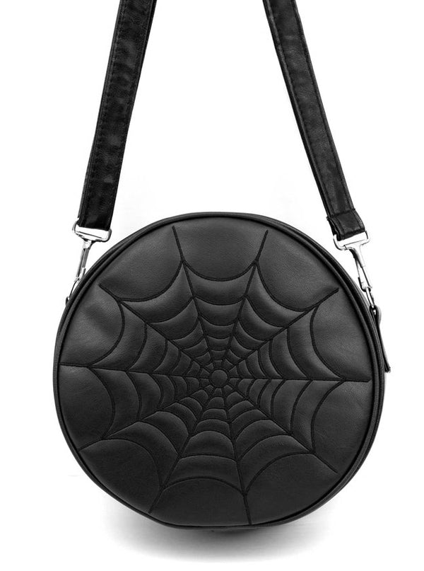Black Vinyl Spiderweb Ghoul Bag by Double Trouble Apparel