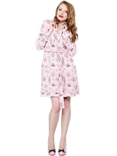"Women's ""Bettie Page Motel"" Robe by Sourpuss (Pink) - www.inkedshop.com"
