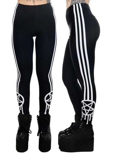 "Women's ""Sporty-Gram & Stripes"" Addicted Leggings by Rat Baby (Black)"