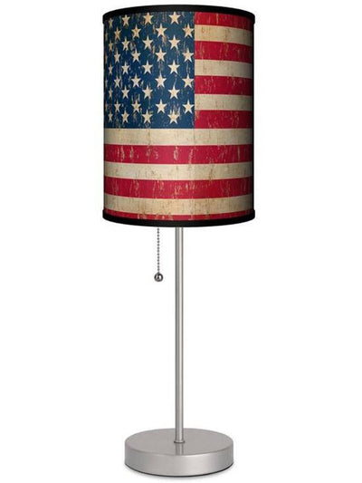 Silver Lamp With Vintage Flag Shade by Lamp in A Box - www.inkedshop.com
