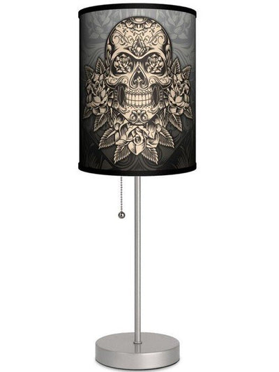Silver Lamp With Gold Skull Shade By Lamp in A Box - www.inkedshop.com