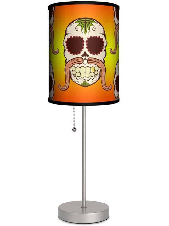 Silver Lamp With Skull Mustache Shade by Lamp in A Box - www.inkedshop.com