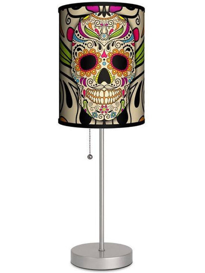 Silver Lamp With Sugar Skull Shade by Lamp in A Box - www.inkedshop.com