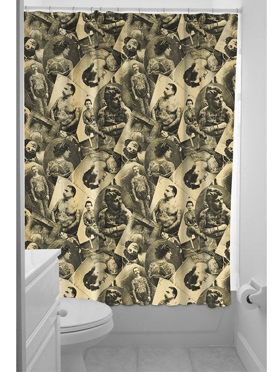 Tattooed Old Timers Shower Curtain By Sourpuss