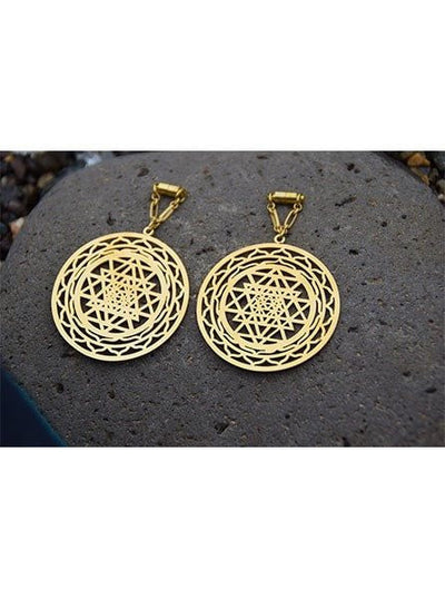 """Sri Yantra"" Sacred Geometry Magnetic Clasp Gauged Earrings by Intrepid Jewelry (More Options) - www.inkedshop.com"