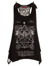 "Women's ""Davinci Bones"" Lace Back Top by Jawbreaker (Black) - www.inkedshop.com"