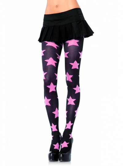 "Women's ""Stars"" Opaque Tights by Leg Avenue (Pink/Black) - www.inkedshop.com"