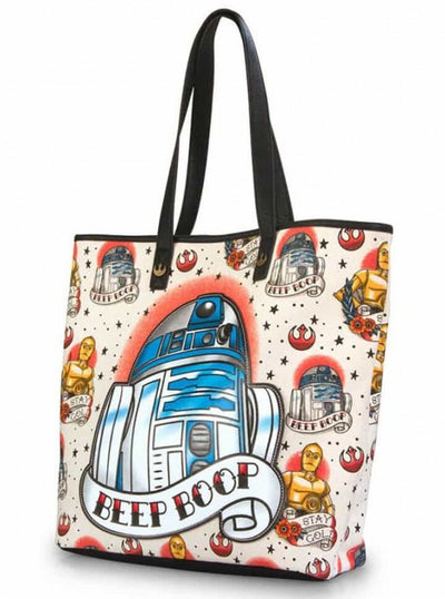 """Star Wars: R2-D2"" Tote by Loungefly (Beige) - www.inkedshop.com"