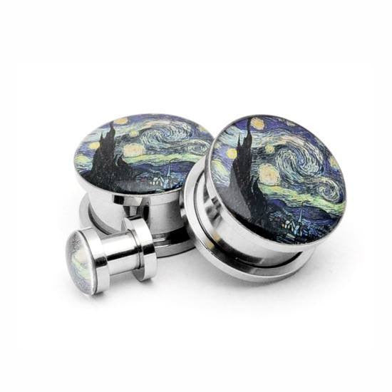 Starry Night Picture plugs by Mystic Metals Body Jewelry - InkedShop - 1