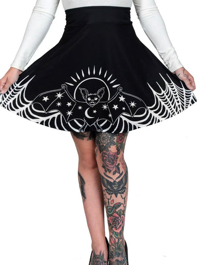 Women's Starry Eyed Bat Skater Skirt by Too Fast