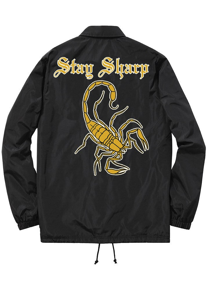 "Unisex ""Stay Sharp"" Coach Jacket by Chi Flo (Black)"