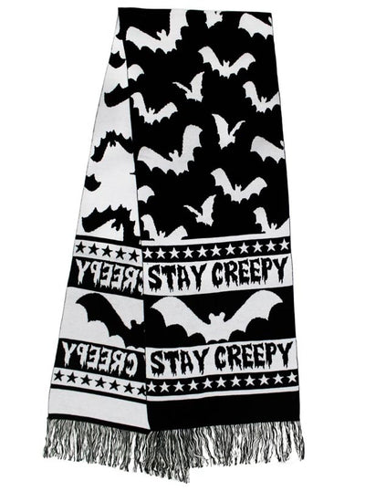 """Stay Creepy"" Knit Scarf by Rat Baby (Black)"