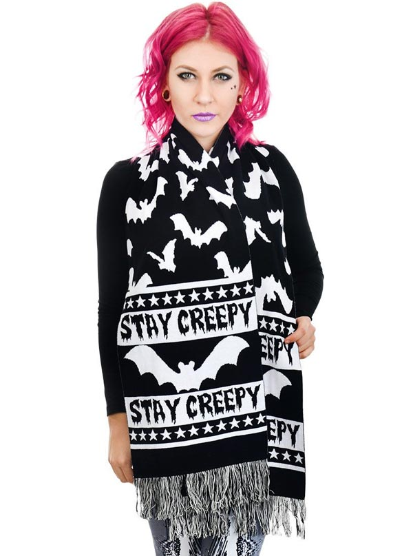 Stay Creepy Knit Scarf by Rat Baby