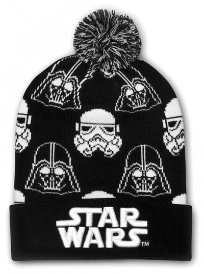 """Star Wars Darth Vader & Stormtrooper"" Beanie by Loungefly (Black/White) - www.inkedshop.com"