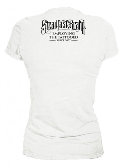 "Women's ""Tattooed and Employed"" Tee by Steadfast Brand (White) - www.inkedshop.com"