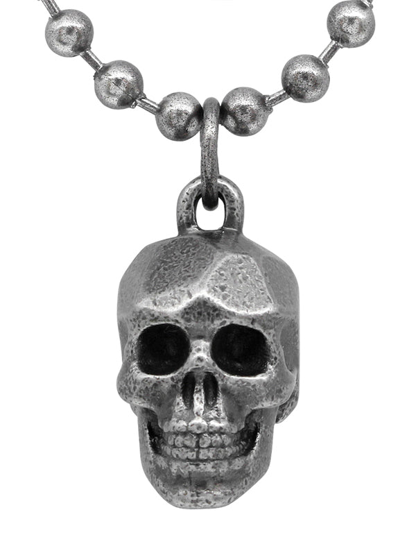 Steel Skull Beaded Necklace by Controse