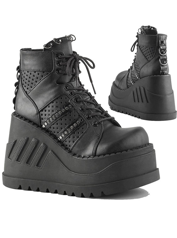 "Women's ""Stomp 12"" Vegan Platform Boots by Demonia (Black)"