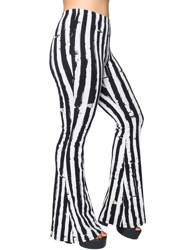 Women's Striped Distressed Flares by Kreepsville 666