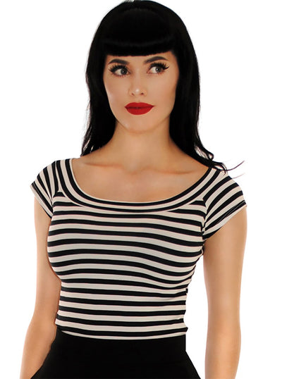 Women's Striped Boat Neck Top by Retrolicious
