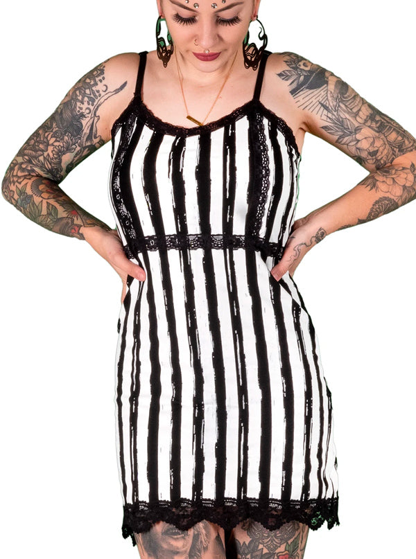 Women's Distressed Striped Slip Dress by Too Fast