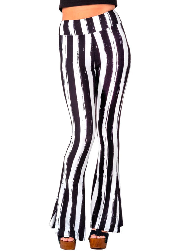Women's Distressed Striped Bell Bottom Flares by Too Fast