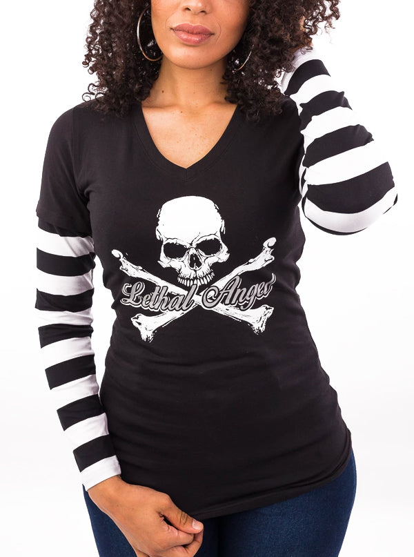Women's Bones N Stripes Long Sleeve V-Neck Tee by Lethal Angel