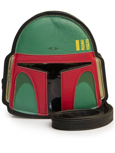 """Star Wars Boba Fett Helmet"" Cross Body Bag by Loungefly (Green) - www.inkedshop.com"