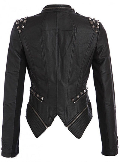 "WOMEN'S ""STUDDED ROCKER"" MOTO JACKET BY PRETTY ATTITUDE CLOTHING (BLACK)7"