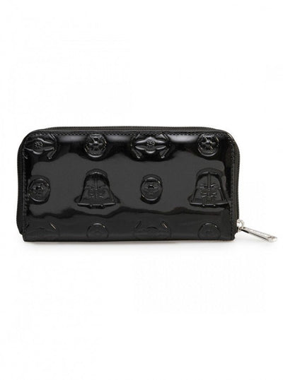 """Star Wars Darth Vader Darkside"" Patent Leather Zip Wallet by Loungefly (Black) - www.inkedshop.com"