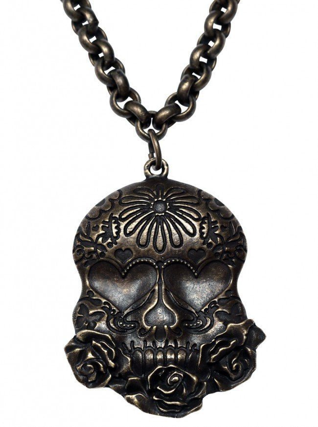 Sugar Skull Necklace by Kitsch 'n' Kouture (Antique Brass) - www.inkedshop.com
