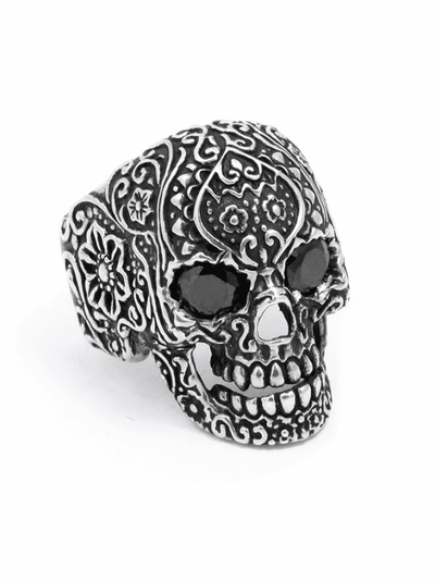 """Sugar Skull"" Ring by Billy Rebs (Silver/Black CZ) - InkedShop - 1"
