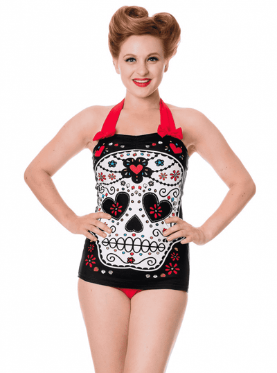 "Women's ""Sugar Skull"" Swimsuit by Banned Apparel (Red) - www.inkedshop.com"