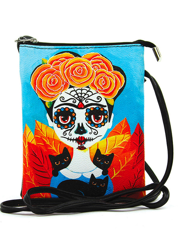 """Sugar Skull Girl"" Crossbody Bag (Black)"