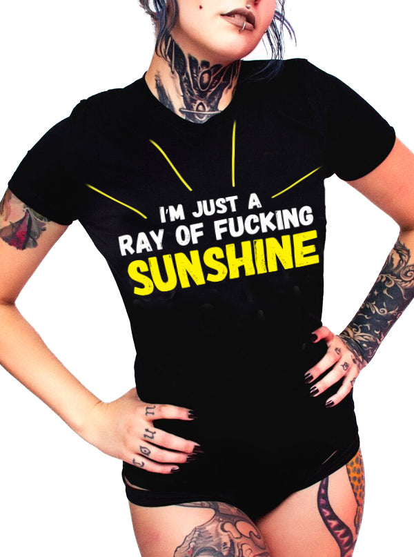 "Women's ""Ray of Fucking Sunshine"" Tee by Dirty Shirty (Black)"