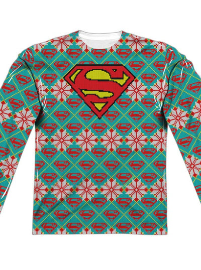 "Men's ""Superman Shield"" Ugly Holiday Sweater Long Sleeve Tee by DC Comics (Green)"