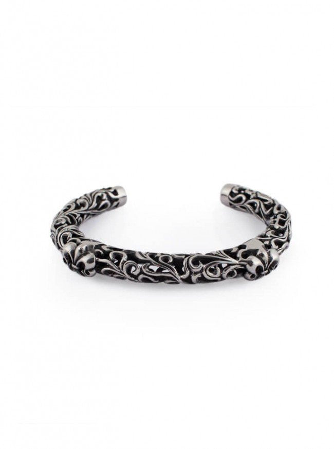 "Men's ""Vintage Engraved Fleur De Lis"" Bangle by Wicked Steel (Stainless Steel) - www.inkedshop.com"