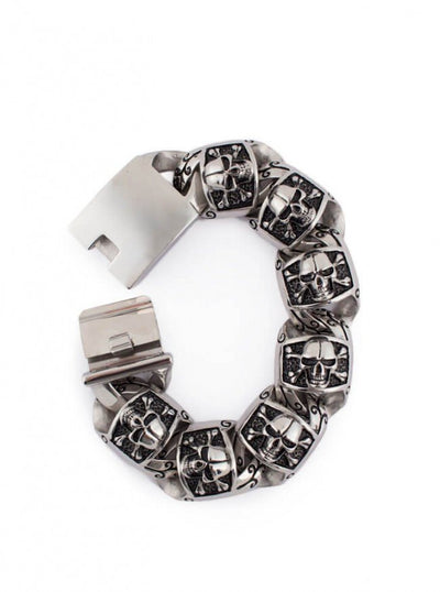 "Men's ""Skulls & Crossbones"" Bracelet by Wicked Steel (Stainless Steel) - www.inkedshop.com"