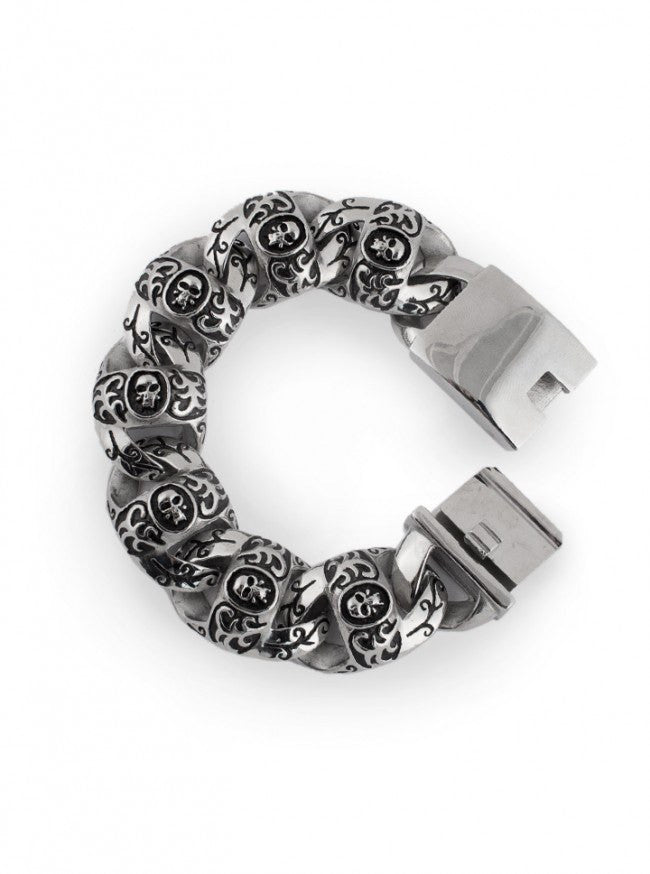 "Men's ""Big Link Skull"" Bracelet by Wicked Steel (Stainless Steel) - www.inkedshop.com"
